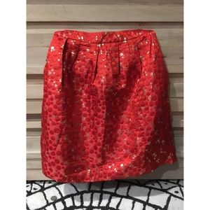 Anthropologie red & gold skirt with pockets